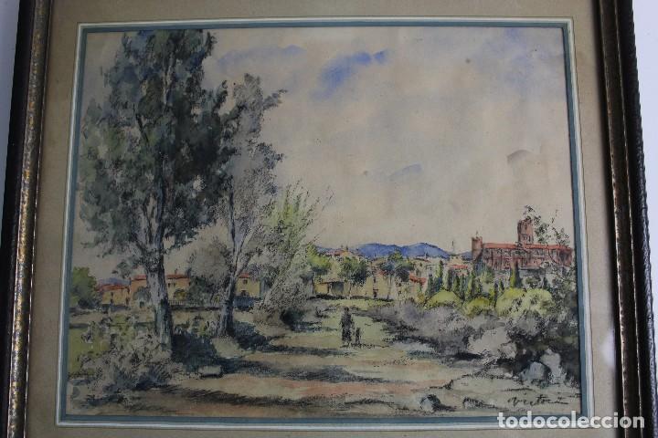 Arte: C- 713. ACUARELA SOBRE PAPEL, PAISAJE. FIRMADA VICTORIA. S.XX. - Foto 2 - 128636971