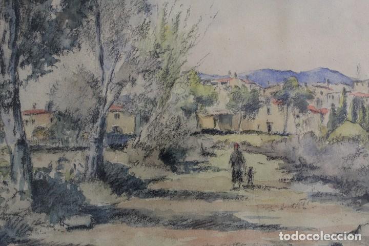 Arte: C- 713. ACUARELA SOBRE PAPEL, PAISAJE. FIRMADA VICTORIA. S.XX. - Foto 3 - 128636971