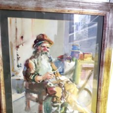 Arte: HOMBRE EN SU TALLER. VARELA GUILLOT. ACUARELA.. Lote 128639844