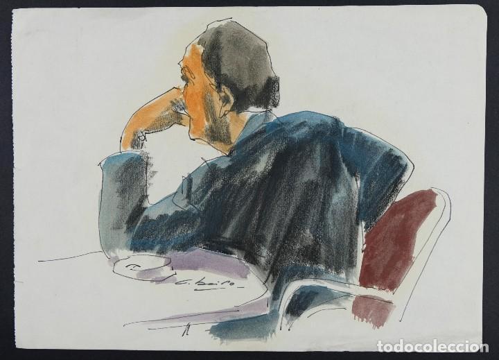 Arte: Nacho Costa Beiro (1953) Acuarela y ceras sobre papel Personaje sentado firmado - Foto 2 - 128737791