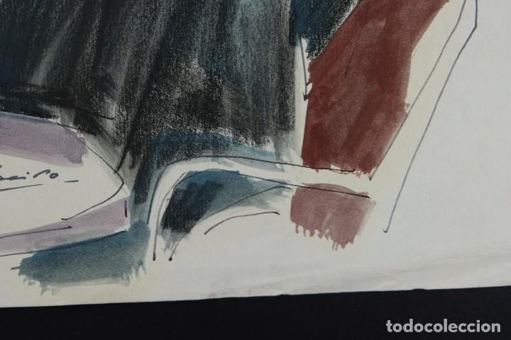 Arte: Nacho Costa Beiro (1953) Acuarela y ceras sobre papel Personaje sentado firmado - Foto 5 - 128737791