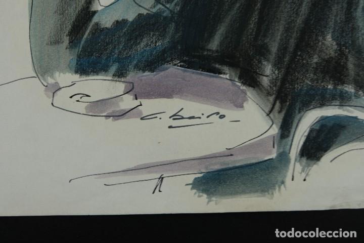 Arte: Nacho Costa Beiro (1953) Acuarela y ceras sobre papel Personaje sentado firmado - Foto 6 - 128737791