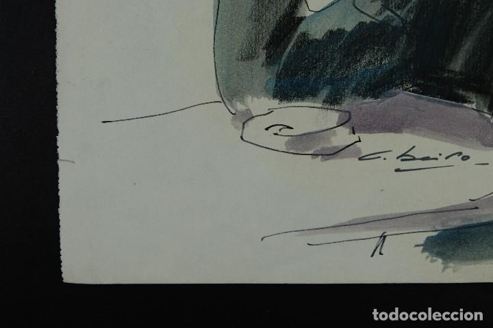 Arte: Nacho Costa Beiro (1953) Acuarela y ceras sobre papel Personaje sentado firmado - Foto 7 - 128737791