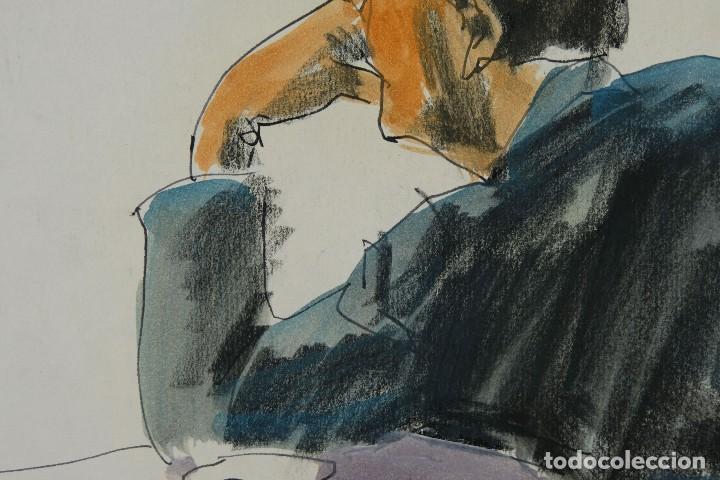 Arte: Nacho Costa Beiro (1953) Acuarela y ceras sobre papel Personaje sentado firmado - Foto 8 - 128737791