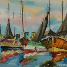 Arte: AMADEU FONTANET I CLEC (1907-1982) ACUARELA SOBRE PAPEL BARCOS FIRMADA. Lote 128738275