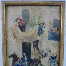 Arte: DIBUJO EN ACUARELA SOBRE PAPEL -RAMON AMADO Y BERNADET- ESCENA ANDALUZA( 1844-1888). Lote 128892259