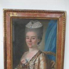 Arte: ANTIGUO RETRATO CONDESA, FRANCIA - ACUARELA, GOUCHE - FIRMA F. MICHEL - MARCO DE ÉPOCA - AÑO 1774. Lote 128945111