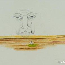 Arte: DIBUJO ACUARELA Y LÁPIZ SOBRE PAPEL SURREALISTA FIRMADO BRAULIO MAYALS 1975. Lote 129009963
