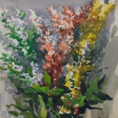 Arte: MARIANO BRUNET (1918-1999) ACUARELA SOBRE PAPEL JARRON CON FLORES FIRMADA. Lote 129012015