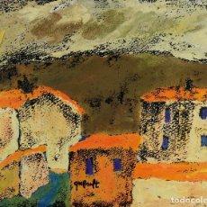 Arte: JOAN QUERALT (1947) GOUACHE SOBRE PAPEL VISTA CASAS FIRMADO. Lote 129012703