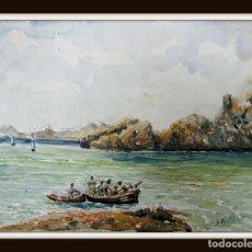 Arte: INTERESANTE ACUARELA ANTIGUA FIRMADA - MARINA. Lote 129030555
