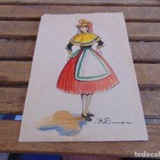 Arte: ACUARELA DE MUJER CON TRAJE REGIONAL FIRMADO F . GOMEZ. Lote 129054379