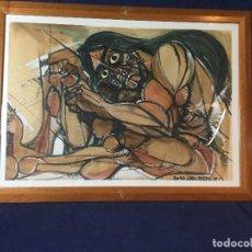 Arte: FIGURA INDIO CUADRO ENRIQUE ROMEA LABOURDETTE GOUACHE TINTA AGUADA DIBUJO FIRMA FECHA 76 78X57,5CMS. Lote 129296299