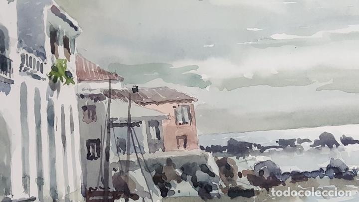 Arte: PAISAJE COSTERO. ACUARELA SOBRE PAPEL. JOSEP OLIVÉ. 1982. - Foto 6 - 129426775