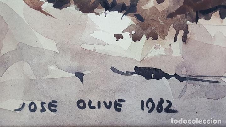 Arte: PAISAJE COSTERO. ACUARELA SOBRE PAPEL. JOSEP OLIVÉ. 1982. - Foto 10 - 129426775