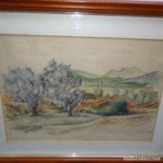 Arte: ACUARELA Y DIBUJO FIRMADO MIR VIRGILI.TAMARIU.CAMI PALAFRUGELL 1953.. Lote 129666923