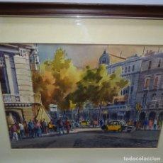Arte: ACUARELA DE GUILLEM FRESQUET.PAISAJE URBANO DE BARCELONA.. Lote 129668759