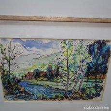 Arte: ACUARELA DE JAUME PLANAS GALLES DEDICADO.SELLO DE LA PINACOTECA.. Lote 129721871