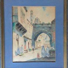 Arte: LÉON JEAN GIROLAMO DI PALMA (1886-?) PINTOR FRANCÉS - ACUARELA. Lote 129746023