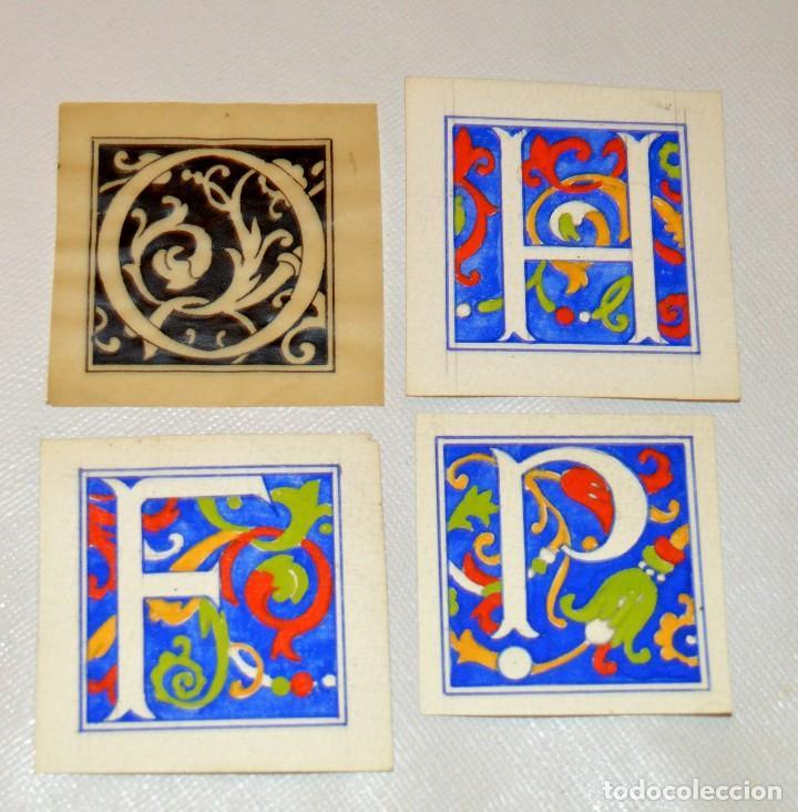 CALIGRAFIA - 4 ANTIGUOS TIPOS DE LETRA - 3 A TEMPERA Y 1 A TINTA SOBRE PAPEL VEGETAL - ORIGINALES (Arte - Acuarelas - Contemporáneas siglo XX)
