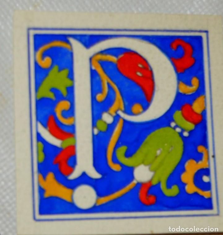 Arte: CALIGRAFIA - 4 ANTIGUOS TIPOS DE LETRA - 3 A TEMPERA Y 1 A TINTA SOBRE PAPEL VEGETAL - ORIGINALES - Foto 2 - 130219019