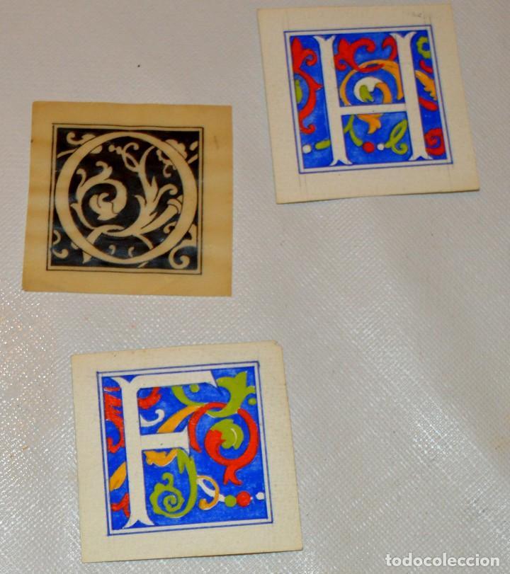 Arte: CALIGRAFIA - 4 ANTIGUOS TIPOS DE LETRA - 3 A TEMPERA Y 1 A TINTA SOBRE PAPEL VEGETAL - ORIGINALES - Foto 3 - 130219019
