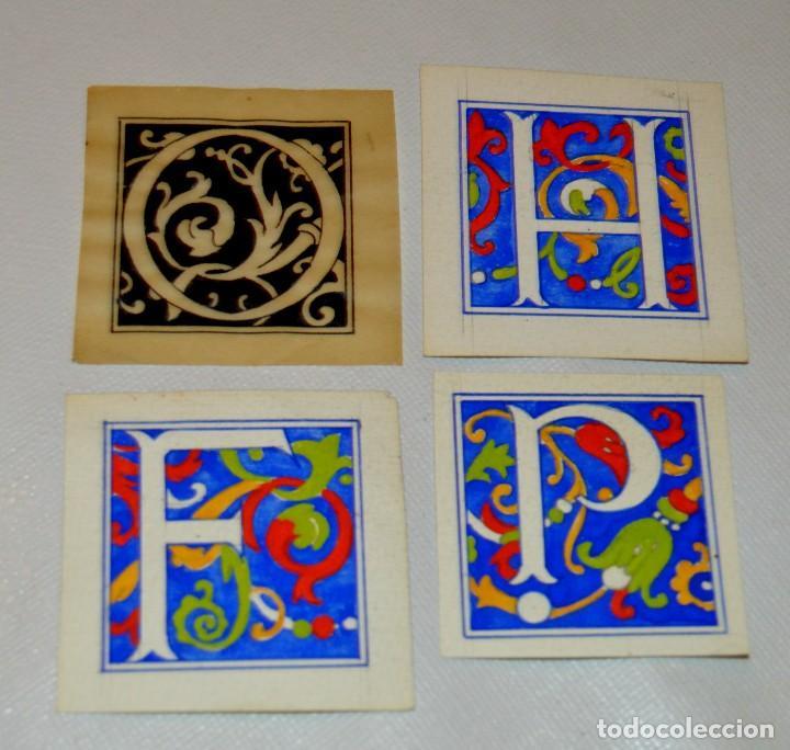 Arte: CALIGRAFIA - 4 ANTIGUOS TIPOS DE LETRA - 3 A TEMPERA Y 1 A TINTA SOBRE PAPEL VEGETAL - ORIGINALES - Foto 7 - 130219019