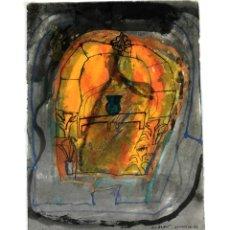 Art: TEMPLO ABSTRACTO. TÉCNICA MIXTA SOBRE PAPEL. ALBERT GONZALO CARBÓ. 1999.. Lote 130252106
