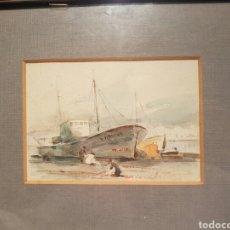 Arte: ERNESTO FURIÓ (1902-1995) REGRESO DE LA PESCA, ACUARELA SOBRE PAPEL (10 X 15). Lote 130565226