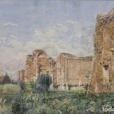 Arte: VICENTE POVEDA Y JUAN (PETREL, ALICANTE, 1857 - 1935) TERMAS DE CARACALLA, ROMA. ACUARELA.. Lote 130831764