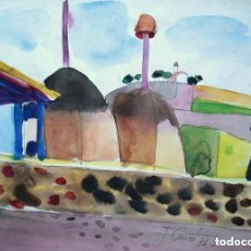 Arte: JORDI CUROS ACUARELA/PAPEL 34 X 25 CM. FIRMADA Y FECHADA 1971.. Lote 130867708