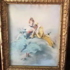 Arte: AUTHENTIC ANTIQUE LOUIS MORIN PASTEL DRAWING FRENCH MASQUERADE MASK COUPLE NR. Lote 131031140