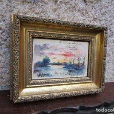 Arte: TUY GALICIA - EDUARDO PADIN - PRECIOSA ACUARELA PUESTA DEL SOL SOBRE RIO MIÑO - DEDICADA 1906 +. Lote 131057980