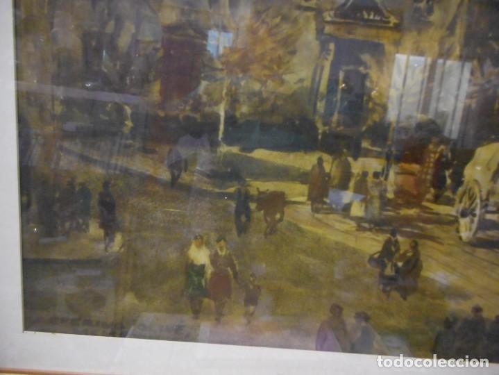 Arte: preciosa gran acuarela ceferino olive reus plaça de vic - Foto 2 - 131287527