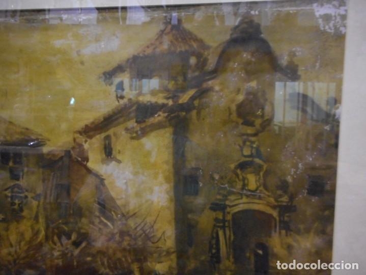 Arte: preciosa gran acuarela ceferino olive reus plaça de vic - Foto 4 - 131287527
