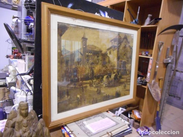 Arte: preciosa gran acuarela ceferino olive reus plaça de vic - Foto 8 - 131287527