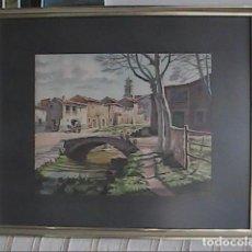Arte: MAGNIFICA Y ANTIGUA ACUARELA DEL CENTRO DE ALBI, LES GARRIGUES, LLEIDA. 1930-1940 FIRMADO.. Lote 131587342
