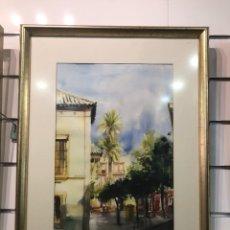 Arte: ACUARELA CALLE FERIA DE JOSE ANTONIO SANDOVAL 55 X 37. Lote 131588363