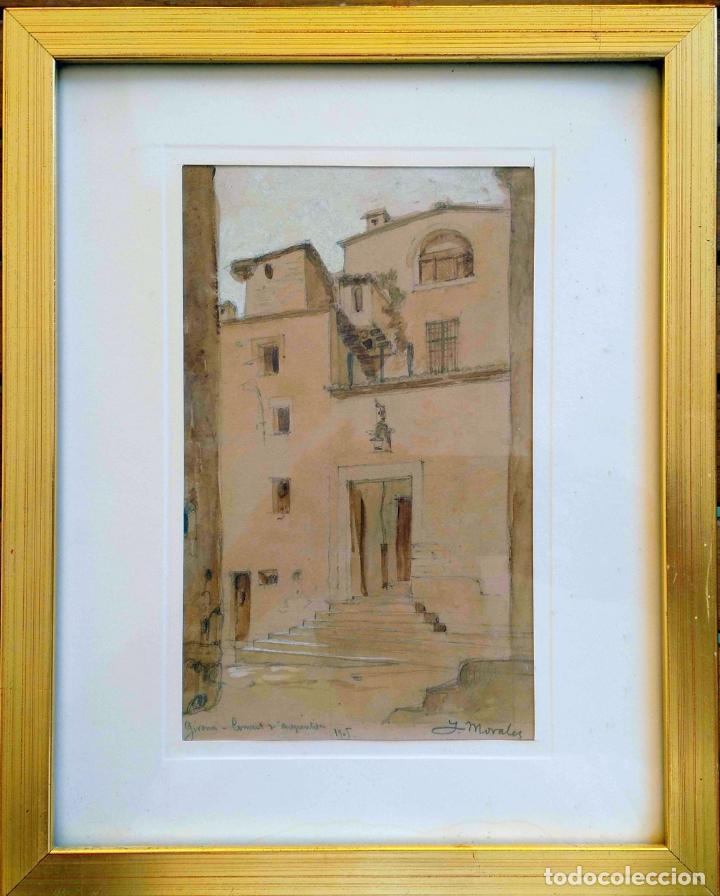 JOAN MORALES (1890 - ?) – GIRONA CONVENT D'ARREPENTIDES, DIBUIXAT A LLAPIS I AQUAREL·LA, ANY 1905 (Arte - Acuarelas - Contemporáneas siglo XX)