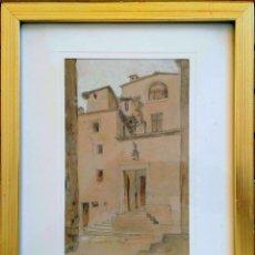 Arte: JOAN MORALES (1890 - ?) – GIRONA CONVENT D'ARREPENTIDES, DIBUIXAT A LLAPIS I AQUAREL·LA, ANY 1905. Lote 131861690
