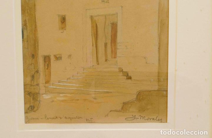 Arte: Joan Morales (1890 - ?) – Girona Convent d'arrepentides, dibuixat a llapis i aquarel·la, Any 1905 - Foto 2 - 131861690
