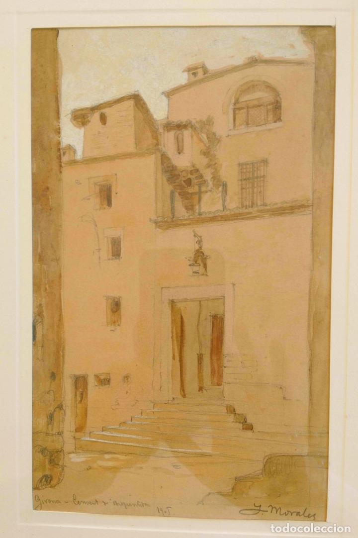 Arte: Joan Morales (1890 - ?) – Girona Convent d'arrepentides, dibuixat a llapis i aquarel·la, Any 1905 - Foto 3 - 131861690