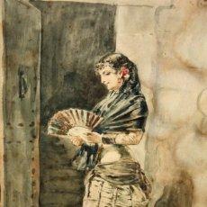 Arte: LLUIS LABARTA GRAÑE (1852-1924) ACUARELA SOBRE APEL FECHADA DEL AÑO 1881. ANDALUZA CON ABANICO. Lote 131894474