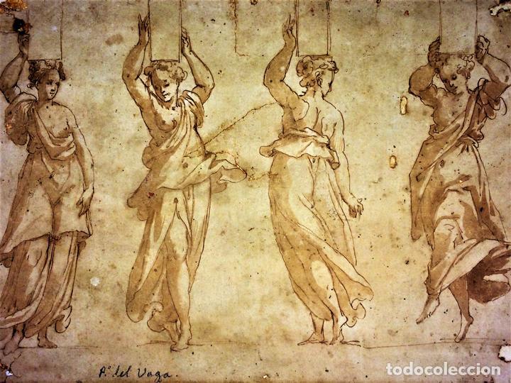 4 CARIÁTIDES. DIBUJO-ACUARELA. ATRIBUIDO A PIERINO DEL VAGA. ITALIA. PRIMERA MITAD S. XVI (Arte - Acuarelas - Antiguas hasta el siglo XVIII)