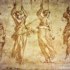 Arte: 4 CARIÁTIDES. DIBUJO-ACUARELA. ATRIBUIDO A PIERINO DEL VAGA. ITALIA. PRIMERA MITAD S. XVI. Lote 131916022