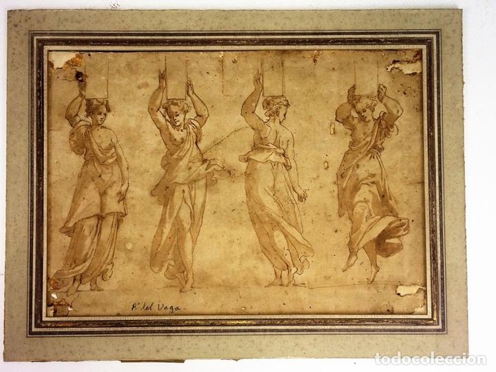 Arte: 4 CARIÁTIDES. DIBUJO-ACUARELA. ATRIBUIDO A PIERINO DEL VAGA. ITALIA. PRIMERA MITAD S. XVI - Foto 2 - 131916022