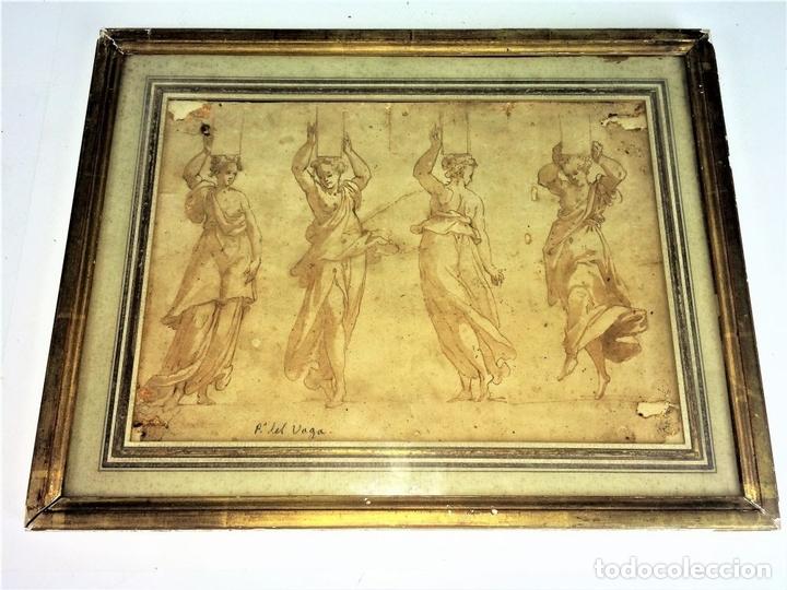 Arte: 4 CARIÁTIDES. DIBUJO-ACUARELA. ATRIBUIDO A PIERINO DEL VAGA. ITALIA. PRIMERA MITAD S. XVI - Foto 3 - 131916022