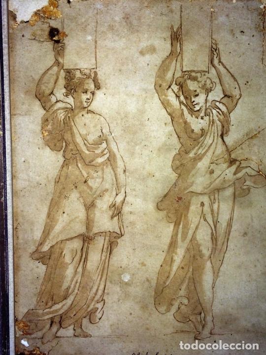 Arte: 4 CARIÁTIDES. DIBUJO-ACUARELA. ATRIBUIDO A PIERINO DEL VAGA. ITALIA. PRIMERA MITAD S. XVI - Foto 4 - 131916022