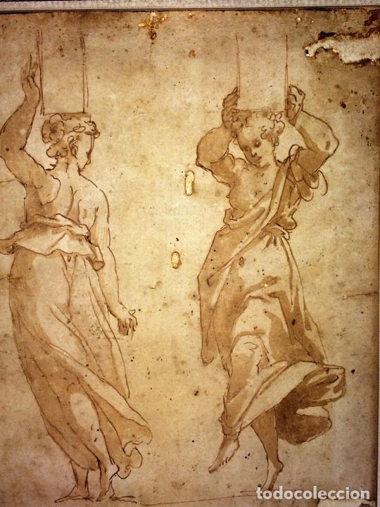 Arte: 4 CARIÁTIDES. DIBUJO-ACUARELA. ATRIBUIDO A PIERINO DEL VAGA. ITALIA. PRIMERA MITAD S. XVI - Foto 5 - 131916022