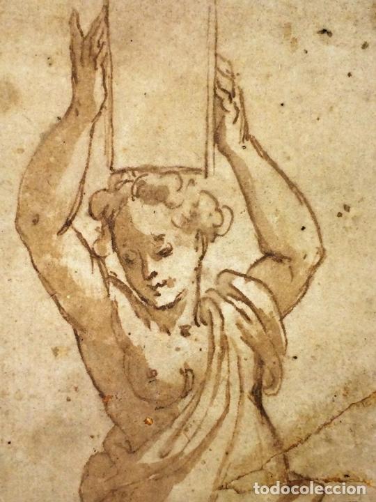 Arte: 4 CARIÁTIDES. DIBUJO-ACUARELA. ATRIBUIDO A PIERINO DEL VAGA. ITALIA. PRIMERA MITAD S. XVI - Foto 6 - 131916022